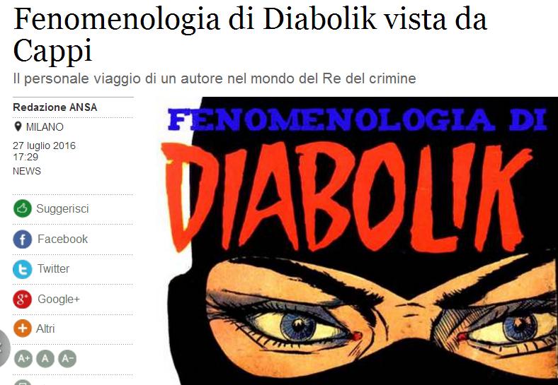 La recensione dell'Ansa di Fenomenologia di Diabolik