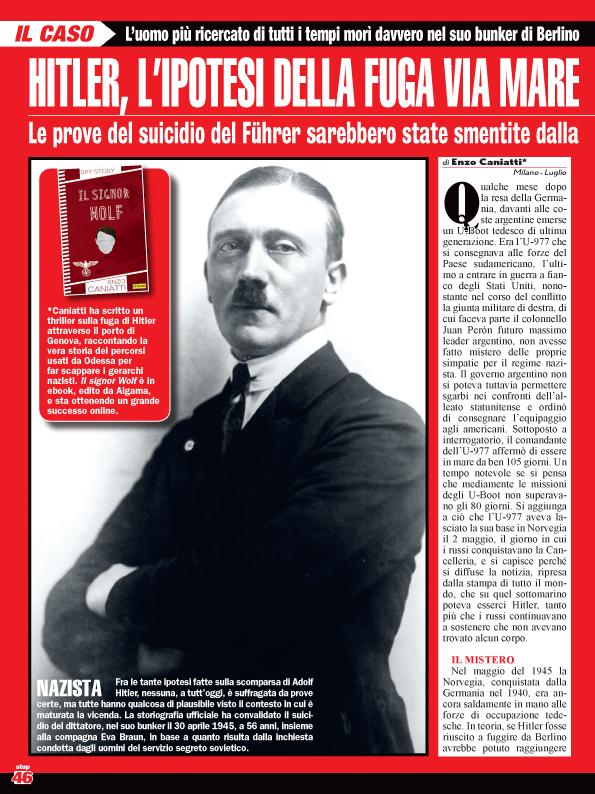 """Sul settimanale Stop """"Il signor Wolf"""", il mistero sulla fuga di Hitler"""