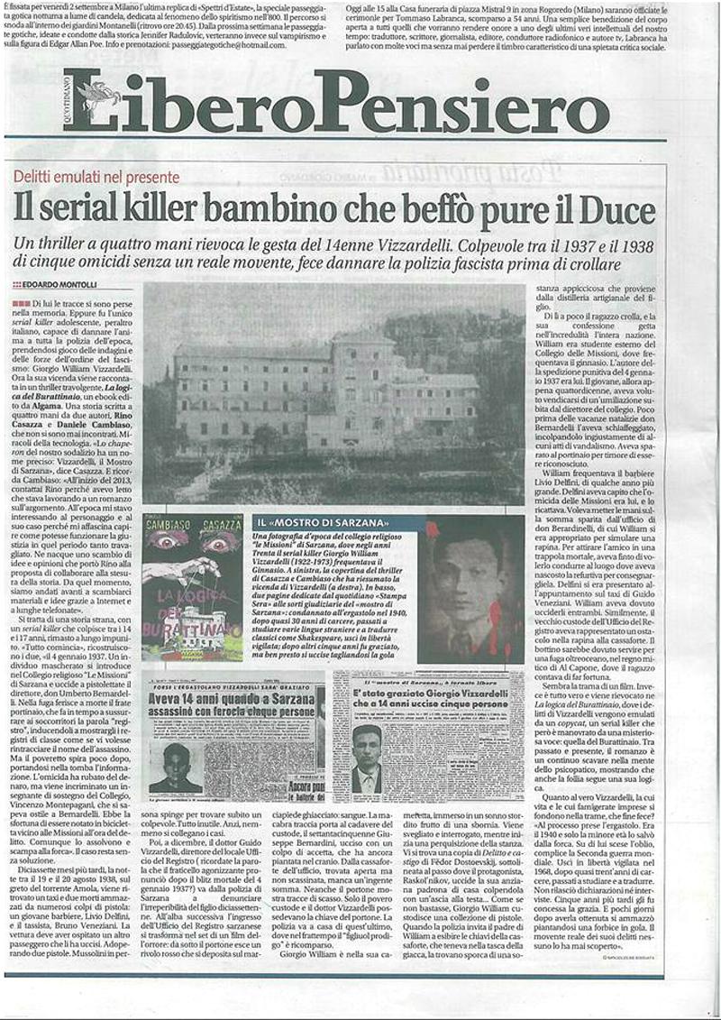 Libero dedica un'intera pagina al thriller La logica del Burattinaio!