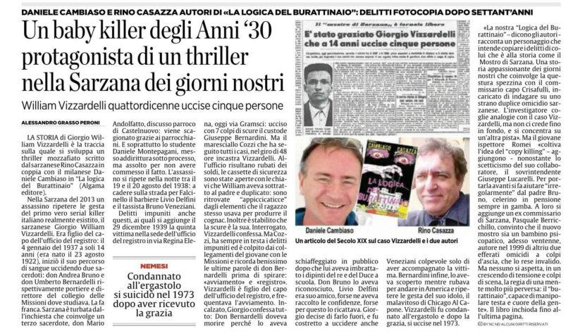 """Il Secolo XIX si occupa del thriller sul serial killer bambino """"La logica del Burattinaio"""""""