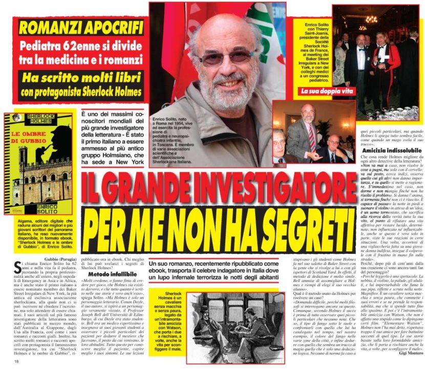 """Cronaca Vera intervista Enrico Solito per """"Sherlock Holmes e le ombre di Gubbio"""""""