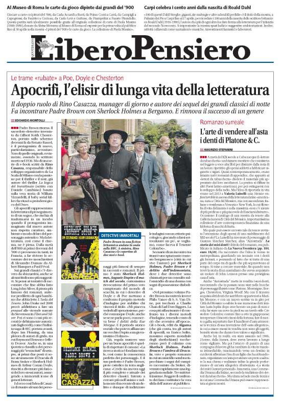 Intervista a tutta pagina su Libero per gli apocrifi di Rino Casazza!