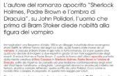 Su GQ un articolo di Rino Casazza su Lord Reuthven, il vampiro celebre all'epoca del romanzo