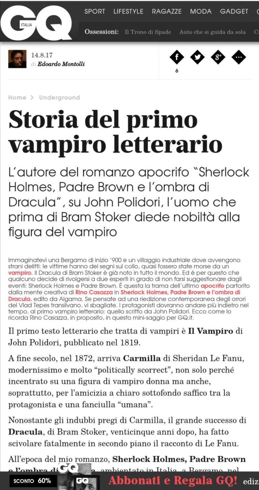 """Su GQ un articolo di Rino Casazza su Lord Reuthven, il vampiro celebre all'epoca del romanzo """"Sherlock Holmes, Padre Brown e l'ombra di Dracula"""""""