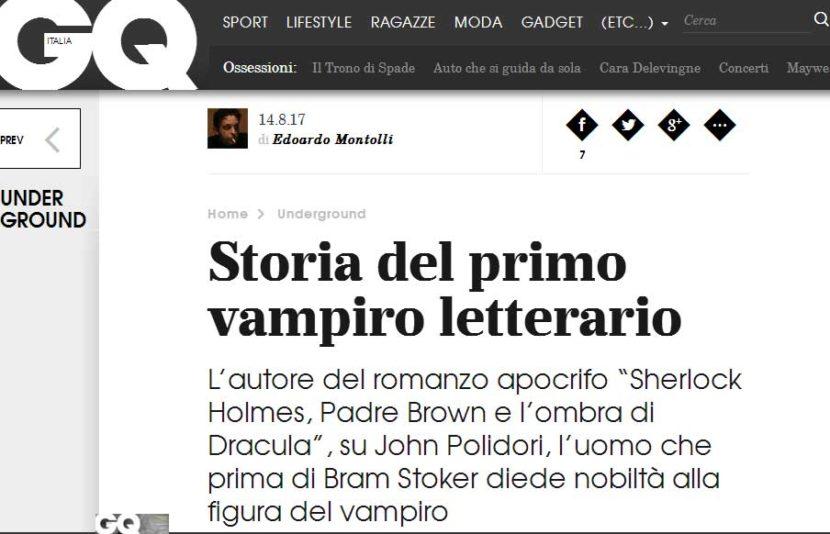 "Su GQ si parla di ""Sherlock Holmes, Padre Brown e l'ombra di Dracula"""