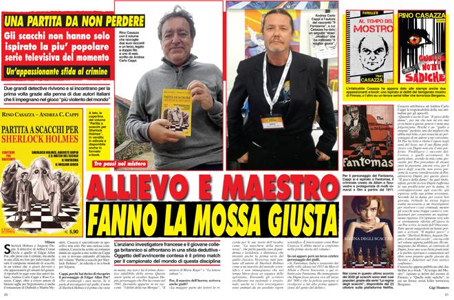 Partita a scacchi per Sherlock Holmes, l'intervista di Cronaca Vera ad Andrea Carlo Cappi e Rino Casazza