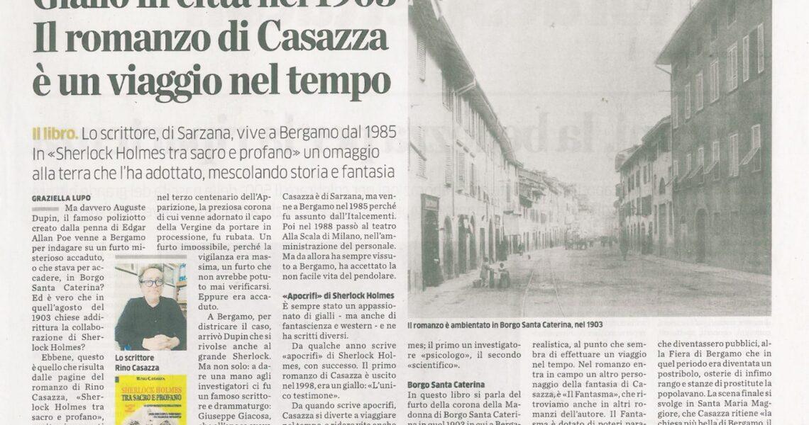 """""""Sherlock Holmes tra sacro e profano"""" sull'Eco di Bergamo"""